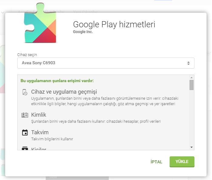 Google play hizmetleri cihaz seçme ekranı